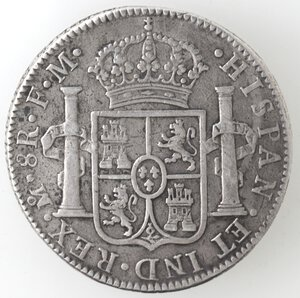 reverse: Messico. Carlo IV. 1788-1808. 8 Reales 1793 FM. Ag.