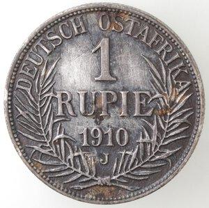 reverse: Africa Orientale. Guglielmo II. 1888-1918. Rupia 1910. Ag.