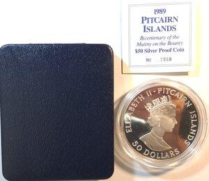 obverse: Pitcairn Islands. Elisabetta II. Dal 1952. 50 Dollari 1989. Ag 999.