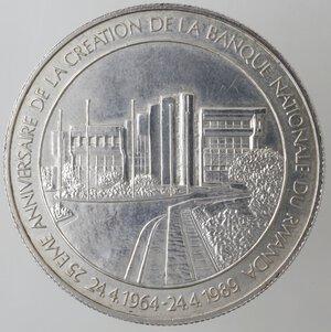 reverse: Rwanda. 1000 Franchi 1989. Ag 925.