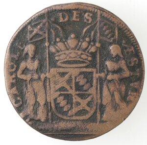 obverse: Spagna. Carlo delle Asturie. Gettone o tessera 1691. Ae.