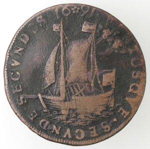 reverse: Spagna. Carlo delle Asturie. Gettone o tessera 1691. Ae.