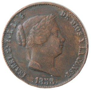 obverse: Spagna. Isabella II. 1833-1868. 25 Centesimi 1858. Ae.