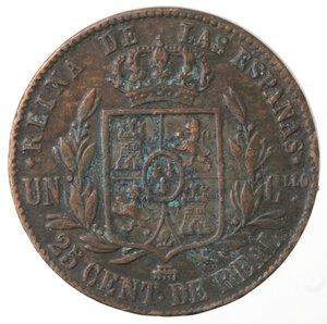 reverse: Spagna. Isabella II. 1833-1868. 25 Centesimi 1858. Ae.