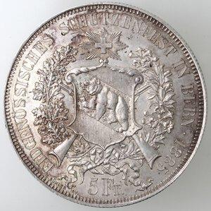obverse: Svizzera-Berna.5 franchi 1885 Tiri Federali.Ag.