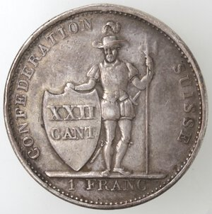 reverse: Svizzera-Vaud.Franco 1845.Ag.