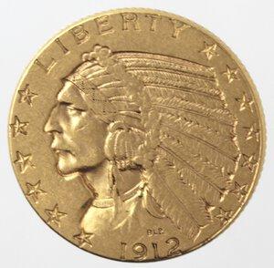 reverse: USA. 5 Dollari Indian Head 1912. Au.