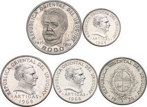 Uruguay. Lot of three (3) Proof NI-Brass coins: 10, 5, 1 Pesos 1968, in addiction 20 Pesos 1970 and 50 Pesos 1971