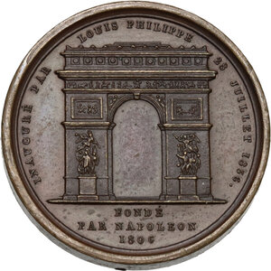 reverse: France.  Louis Philippe I (1830-1848). . AE Medal 1836 for the inauguration of the arch built in 1806 under Napoleon