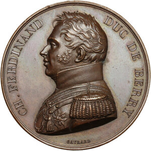 obverse: France.  Charles Ferdinand d Artois (1778-1820), Duke of Berry.. AE Tribute medal of the département du Nord to the Duc de Berry, 26 august 1829