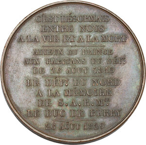 reverse: France.  Charles Ferdinand d Artois (1778-1820), Duke of Berry.. AE Tribute medal of the département du Nord to the Duc de Berry, 26 august 1829