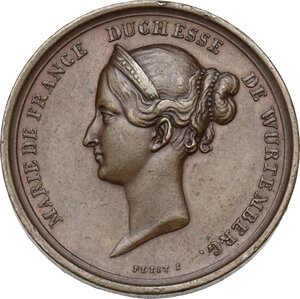 obverse: France.  Marie de France, duchess of Wunterberg, daughter of Luis Philippe . AE Medal 1839 for the death