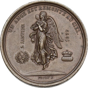 reverse: France.  Marie de France, duchess of Wunterberg, daughter of Luis Philippe . AE Medal 1839 for the death