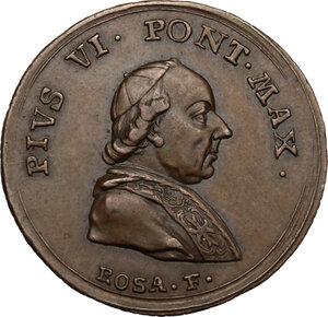 obverse: Italy..  Pius VI (1775-1799), Giovanni Angelo Braschi. AE Medal, 1782