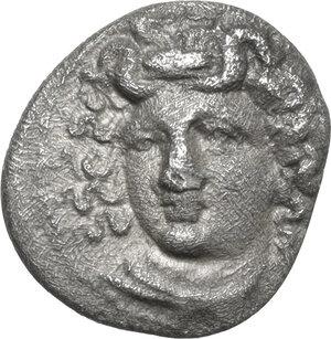 obverse: Thessaly, Larissa.  Pseudo-autonomous issue, 1st century BC.. AR Obol, circa 395-343 BC
