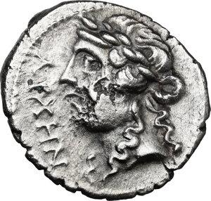 obverse: Illyria, Apollonia. AR Denarius. Mid-late 1st century BC. Archen- and Nikanor, magistrates