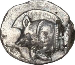 obverse: Mysia, Kyzikos. AR Obol, c. 450-400 BC