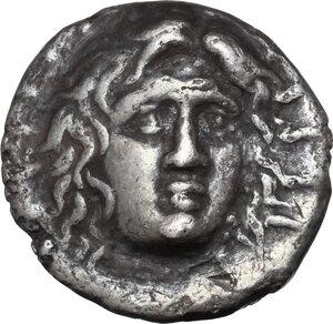obverse: Islands off Caria, Rhodes. AR Didrachm, circa 229-205 BC. Anaxandros, magistrate