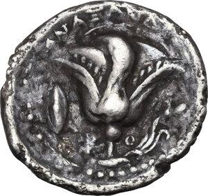reverse: Islands off Caria, Rhodes. AR Didrachm, circa 229-205 BC. Anaxandros, magistrate