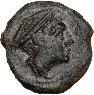 obverse: Corn-ear series.. AE Semuncia, c. 214-212 BC, Sicily mint