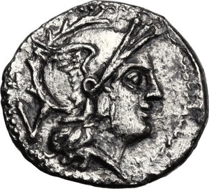 obverse: Anonymous. AR Quinarius, after 211 BC