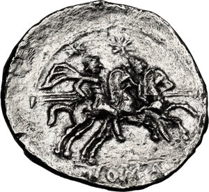 reverse: Anonymous. AR Quinarius, after 211 BC