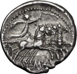 reverse: C. Aburius Geminus.. AR Denarius, 134 BC