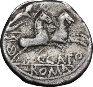 reverse: C. Porcius Cato.. AR Denarius, 123 BC