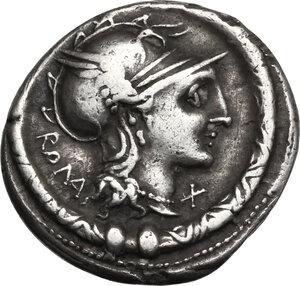 obverse: L. Manlius Torquatus.. AR Denarius, 113-112 BC