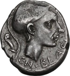 obverse: Cn. Blasio Cn. f.. Denarius, ca 112 or 111 B.C