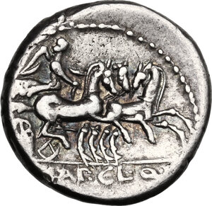reverse: T. Manlius Mancinus, Appius Claudius Pulcher and Q. Urbinius. . AR Denarius, 111-110 BC