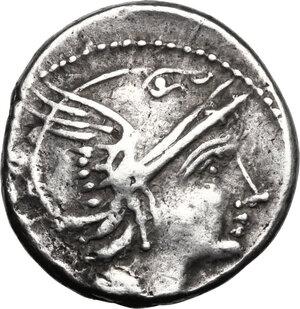 obverse: L. Flaminius Chilo. . AR Denarius, 109 or 108 BC