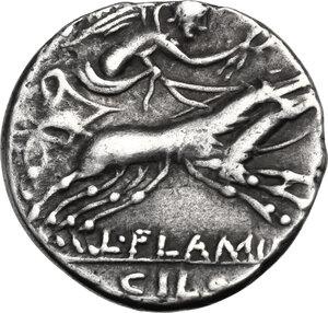 reverse: L. Flaminius Chilo. . AR Denarius, 109 or 108 BC