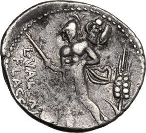 reverse: L. Valerius Flaccus.. AR Denarius, 108-107 BC