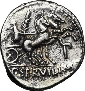 reverse: P. Servilius M.f. Rullus. . AR Denarius, 100 BC