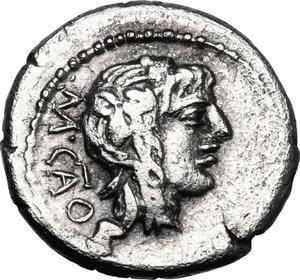 obverse: M. Cato. . AR Quinarius, 89 BC