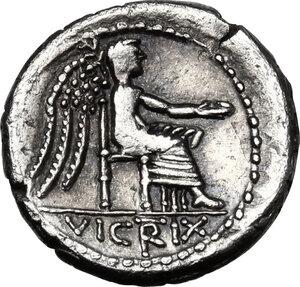 reverse: M. Cato. . AR Quinarius, 89 BC