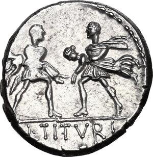 reverse: L. Titurius L. f. Sabinus. AR Denarius, 89 BC