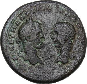 obverse: Macrinus and Diadumenian (217-218).. AE Pentassarion, Marcianopolis (Moesia Inferior). Pontianus, magistrate