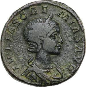 obverse: Julia Soaemias, mother of Elagabalus (died 222 AD).. AE Sestertius. Struck under Elagabalus, 218-220 AD