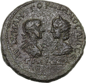 obverse: Gordian III (238-244) with Tranquillina.. AE Tetrassarion, Tomis mint (Moesia Inferior)