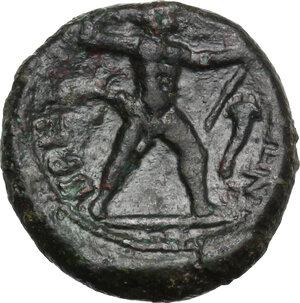Bruttium, The Brettii. AE Half unit, 214-211 BC
