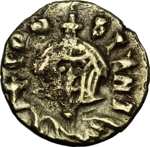 Basil I the Macedonian, with Constantine (868-879 AD).. Debased AV Semissis (?), Syracuse mint