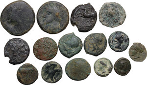 obverse: Greek Italy and Greek Sicily. . Multiple lot of fifteen (15) AE coins. 14 AE Fractionals including Akragas, Kentoripai, Syracuse, Rhegion. In addiction AE Unit of Micipsa