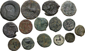 reverse: Greek Italy and Greek Sicily. . Multiple lot of fifteen (15) AE coins. 14 AE Fractionals including Akragas, Kentoripai, Syracuse, Rhegion. In addiction AE Unit of Micipsa