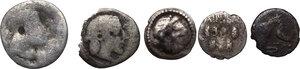 obverse: Greek Sicily. . Multiple lot of five (5) AR Litrae of Gela, Leontini and Syracuse
