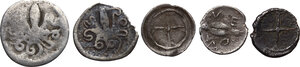 reverse: Greek Sicily. . Multiple lot of five (5) AR Litrae of Gela, Leontini and Syracuse