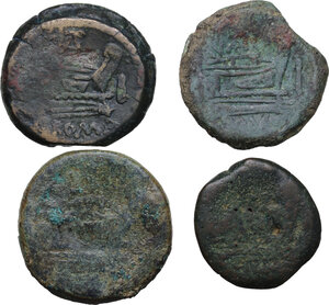 reverse: Roman Republic. Multiple lot of four (4) AE Asses