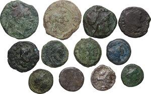 obverse: Roman Republic. Multiple lot of twelve (12) coins: 10 AE and 2 AR Denarii