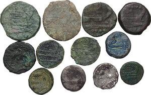 reverse: Roman Republic. Multiple lot of twelve (12) coins: 10 AE and 2 AR Denarii